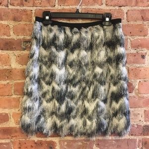 Ann Taylor Ombre Feathered Fringe Skirt 8